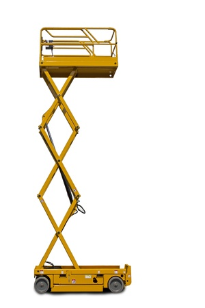 A large yellow extended  scissor lift platform over white.
