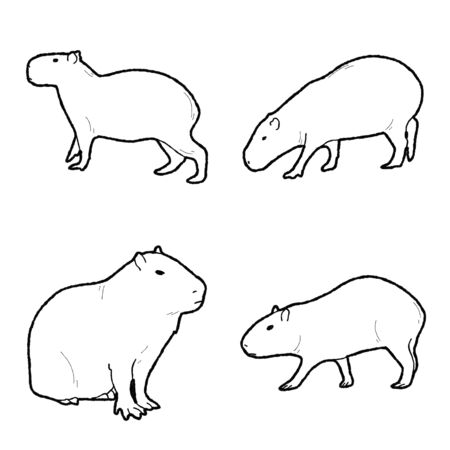Illustration pour Capybera Vector Illustration Hand Drawn Animal Cartoon Art - image libre de droit