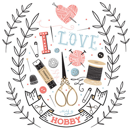 Illustration pour Sewing paper card with dressmaking accessories. I love my hobby - lettering - image libre de droit