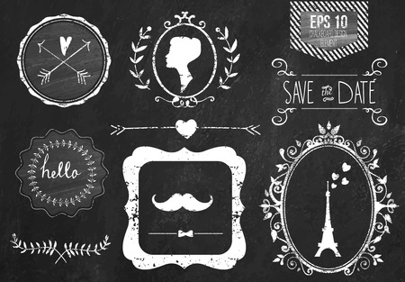 Photo pour Retro chalk elements and icons set for retro design. Paris style. With ribbon, mustache, bow, eiffel tower, border, woman profile and wedding decor. Vector illustration. Chalkboard background. - image libre de droit
