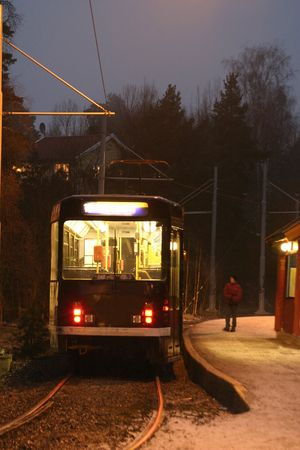 Street car in the evening at the station
