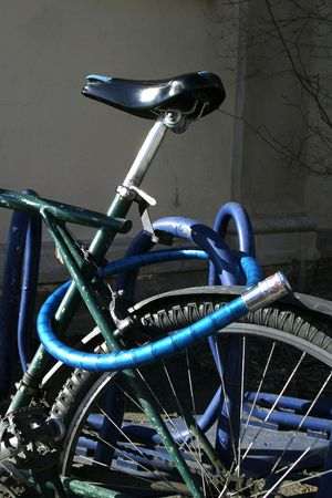 Bike detail with lock and wheel