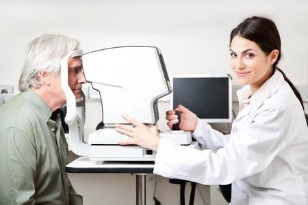 Optometrist taking an eyesight test examination