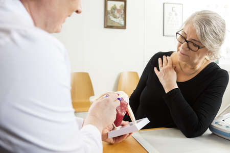Male doctor explaining shoulder rotator cuff model to senior woman in clinic