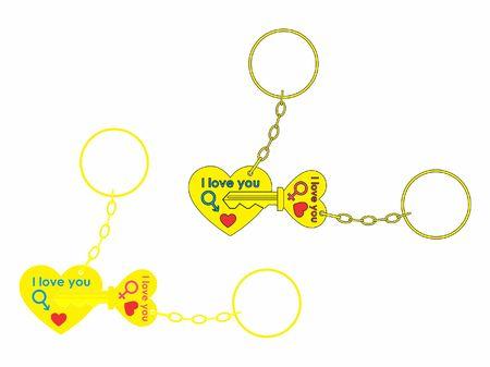 Ilustración de Keys for your heart colored and chain - Imagen libre de derechos