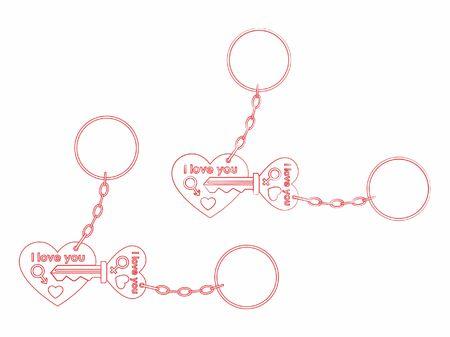 Ilustración de Keys for your heart outline only and chain - Imagen libre de derechos