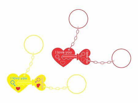 Ilustración de Keys for your heart without outline and chain - Imagen libre de derechos
