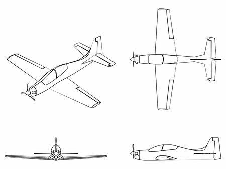 Airplane Tucano. Outline like a brushstrokes.