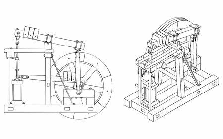 Illustration pour Wood Beam Engine different outline like brushstrokes - image libre de droit