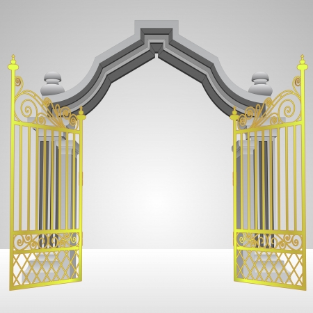heavenly gate with open gold fence vector illustration