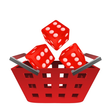 casino rolling dice in red basket vector illustration
