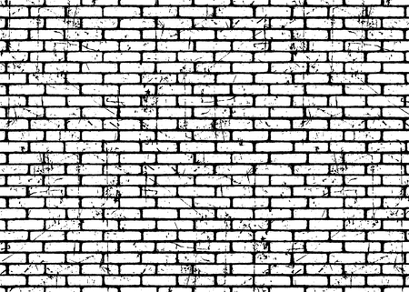 Illustration for Brick wall texture pattern. White on black bricks. Grunge and distressed effect. Vector illustration background  for fashion, surface design for web, home decor, fashion, surface, graphic design - Royalty Free Image