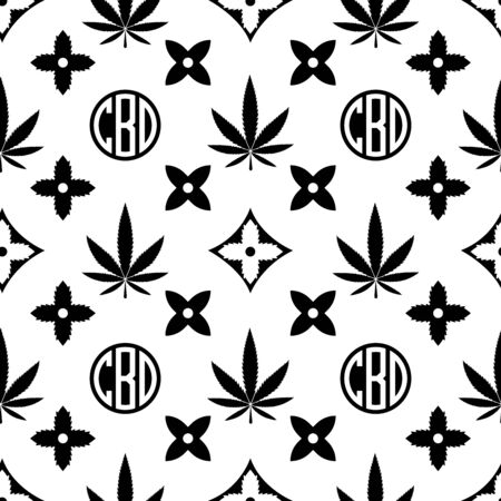 Illustration pour Marijuana seamless pattern. Black on white Weed vector wallpaper. Cannabis leaf. Tile background. Vector illustration. For web, packaging, wrapping, fashion, decor, surface, graphic design - image libre de droit