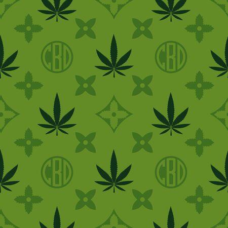 Ilustración de Marijuana seamless pattern. Green Weed vector wallpaper. Cannabis leaf. Tile background. Vector illustration. For web, packaging, wrapping, fashion, decor, surface, graphic design - Imagen libre de derechos