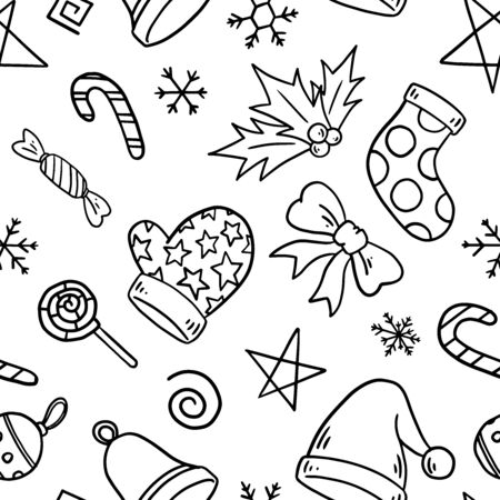 Illustration for Christmas motif seamless pattern. Simple doodle repeating pattern. Vector illustration background. For print, textile, web, home decor, fashion, surface, graphic design - Royalty Free Image