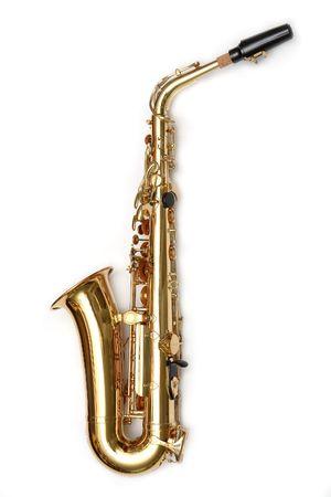 Photo pour Saxophone isolated over white - image libre de droit