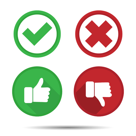 Ilustración de Thumbs up and Thumbs down, Yes, No, icons - Imagen libre de derechos