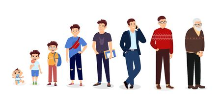Illustration pour Man life cycle. Male person aging stages, guy growth phases set. Infancy, childhood, adulthood and senility vector illustration - image libre de droit