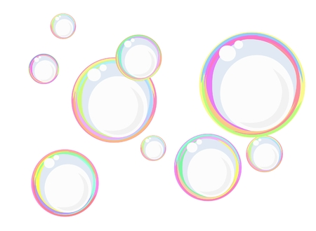 Floating colorful soap bubbles against the white, can also be used as a background