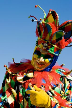 Portrait of a man in a flamboyant costume at the carnival of Venice, Italy, 2009