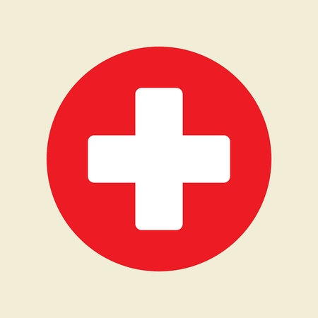 Illustration pour First aid. Medical cross vector icon. Medicinal and pharmacy sign. - image libre de droit