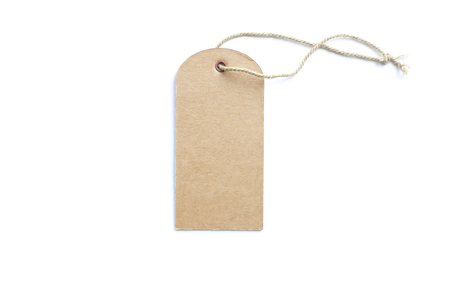 brown price tag or label with thread isolated white background.