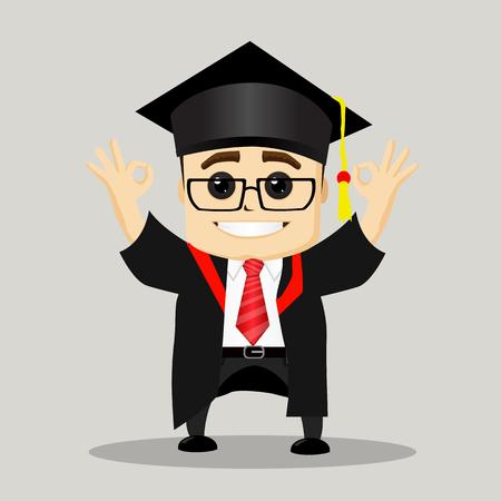 Happy male graduate. Business Motivation Leadership.