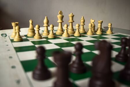 Photo pour green and white chess game pieces, figures on chess board. Logical tactical turn-based game, chess tournament, sport game, hobby and interests, highly intellectual occupation. - image libre de droit