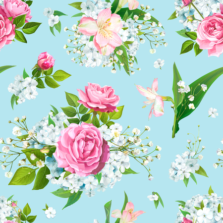 Illustration pour Wonderful floral seamless pattern with flowers of pink Roses, Alstroemeria, light-blue Phloxes, tender Gypsophila, buds and greenery on pastel blue background. Vector illustration - image libre de droit