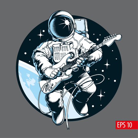 Ilustración de Astronaut playing electric guitar in space. Space tourist. Comic style vector illustration. - Imagen libre de derechos