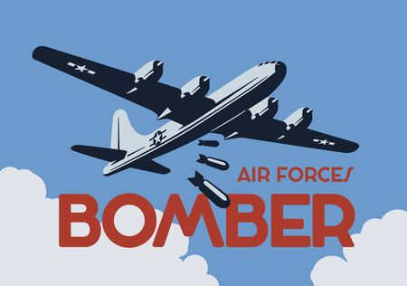 Illustration for World war 2 bomber aircraft poster. - Royalty Free Image