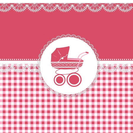 Illustration pour Card for baby girl in pink tones with patterns and sidecar - image libre de droit