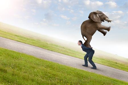 Photo pour business adversity concept with businessman carrying elephant uphill - image libre de droit