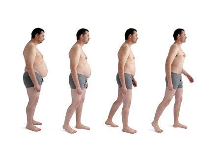 Photo pour diet weight loss transformation concept man isolated on white - image libre de droit