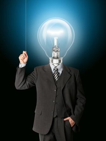 business man turn on hith bulb head and have got an idea