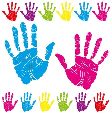 Ilustración de vector color children's and parents' handprints means different symbols - Imagen libre de derechos