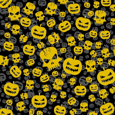 halloween abstract background with skull and pumpkin