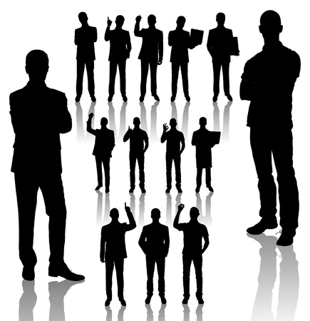 handmades silhouettes of business people in different poses
