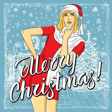 Ilustración de Vector woman waiting for Christmas. Woman in Santa wear and lettering merry Christmas - Imagen libre de derechos
