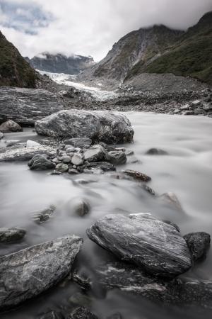 Stream from Fox glacier, South island, New Zealand
