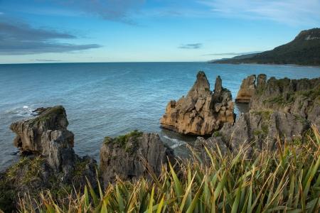 Sunset at Punakaki sea in west coast of south island, New Zealand