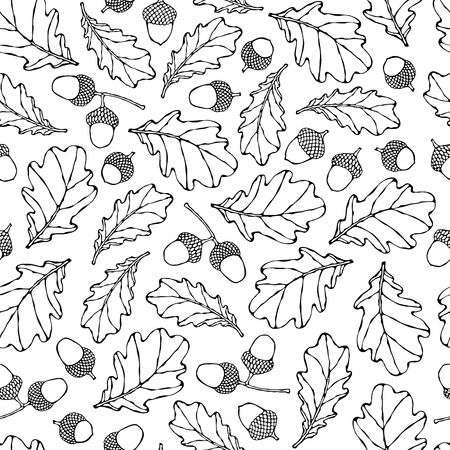Illustration pour Seamless Endless Pattern of Oak Leaves and Acorns. Red, Orange and Yellow. Autumn or Fall Harvest Collection. Realistic Hand Drawn High Quality Vector Illustration. Doodle Style - image libre de droit