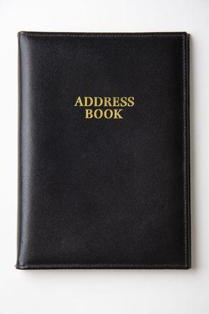 Black leather address book