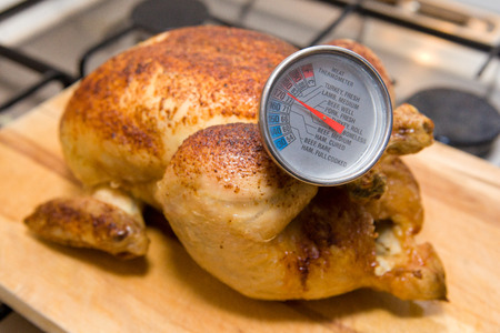 Meat Thermometer in a Roast Chicken