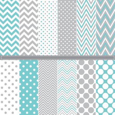 Ilustración de Polka Dot and Chevron seamless pattern set - Imagen libre de derechos