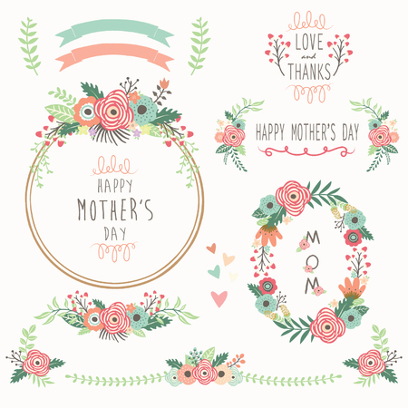 Illustration for Floral Mother's Day Elements - Royalty Free Image