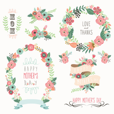 Illustration for Happy Mother's Day Elements - Royalty Free Image