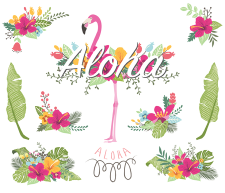 Illustration for Floral Flamingo Collections - Royalty Free Image