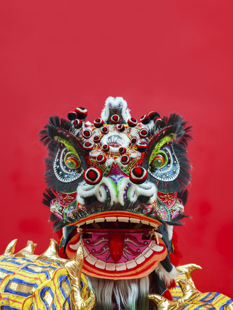 Photo pour Lion Dance Costume used during Chinese New Year - image libre de droit