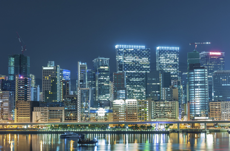 Photo for Skyline of downtown of Hong Kong city at night - Royalty Free Image